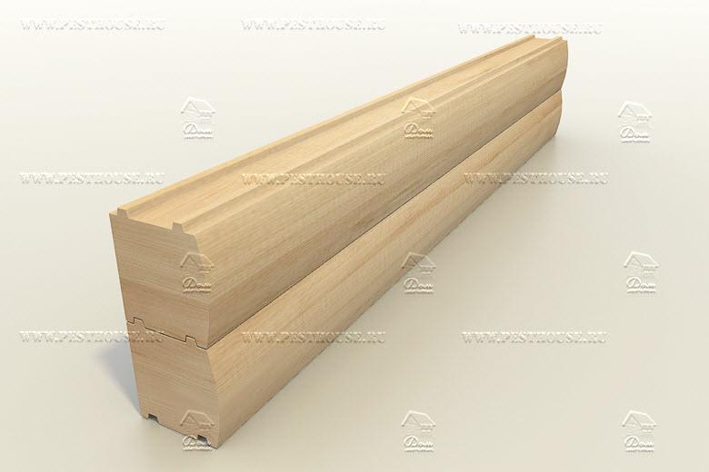 Брус профилированный (эмитация блок-хауса) сечением 150х150 мм. двухшиповой.